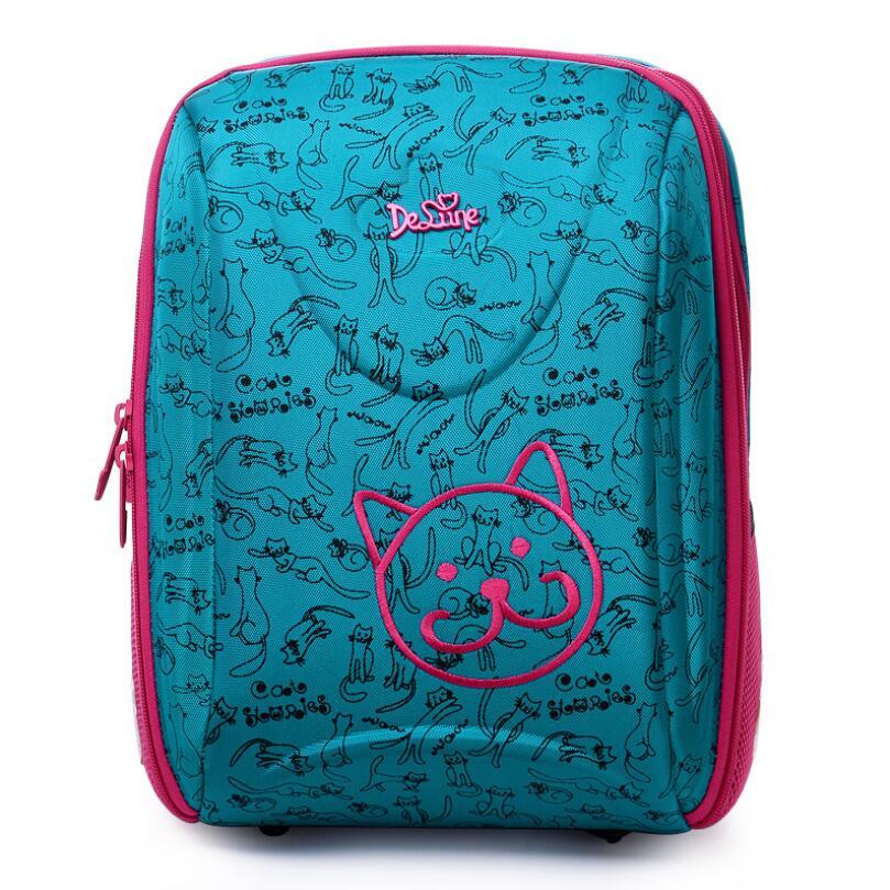 Delune Brand Girls Boys Schoolbag 5 8 Years Kids Primary School backpacks Children 3D Orthopedic Waterproof