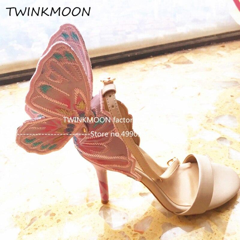 금속 수 놓은 나비 샌들 가죽 3d 천사 날개 하이힐 여성 신발 발목 랩 파티 신부 샌들 여름 2019-에서하이힐부터 신발 의  그룹 2