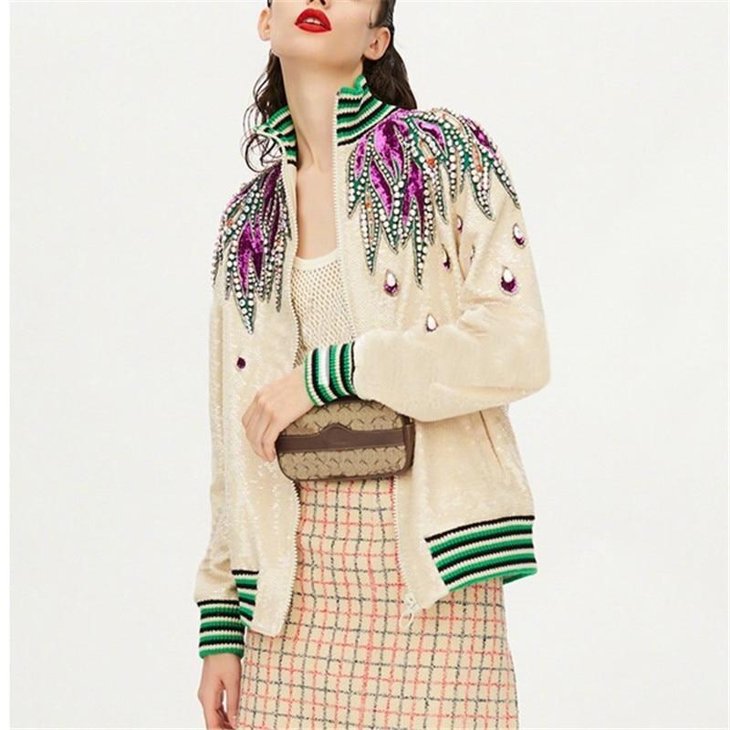 high quality luxury   basic     jacket   women autumn winter brand runway long sleeve stand collar diamonds sequined coat outwear S064
