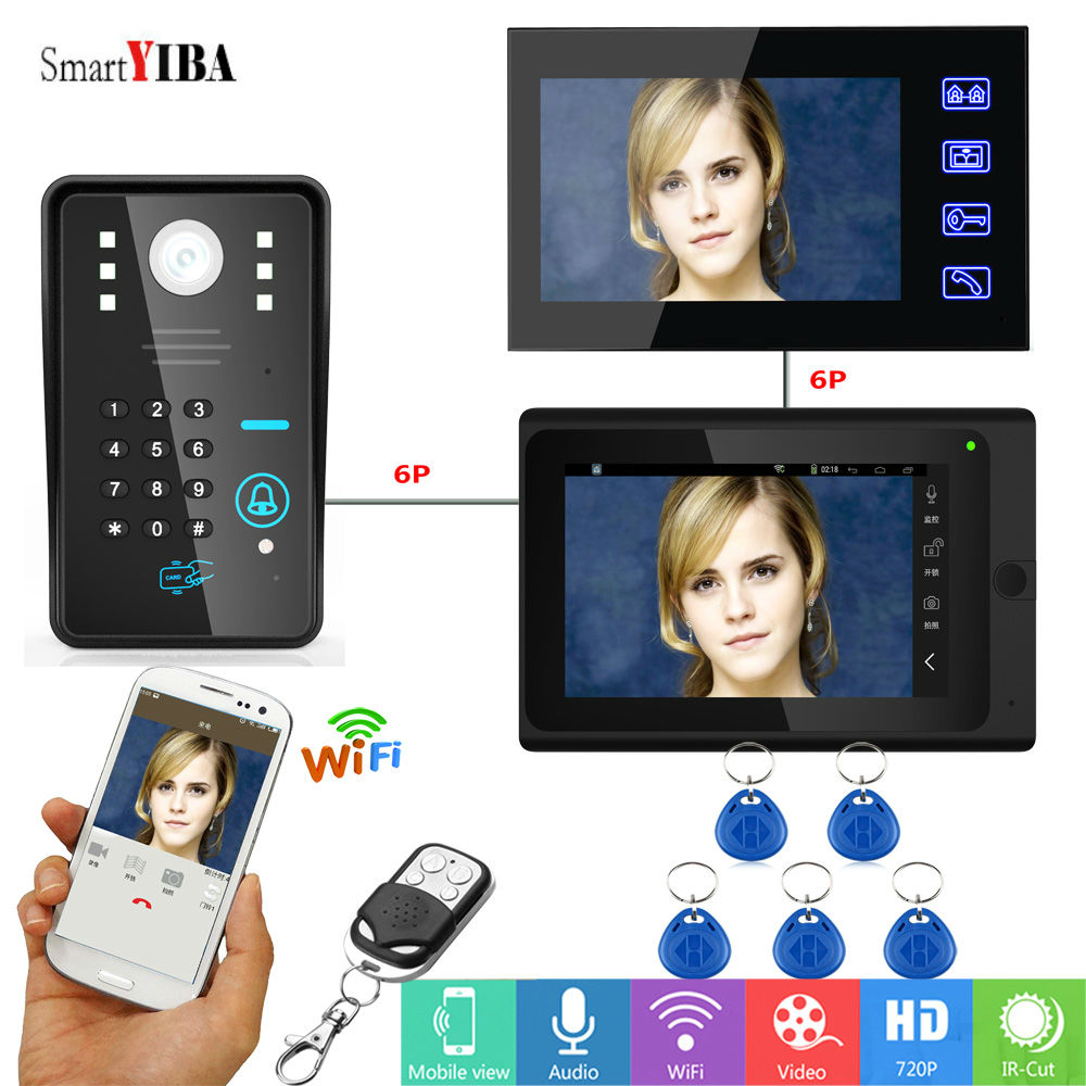 SmartYIBA Video Intercom 7 Inch RFID Password Wifi Wireless Video Door Phone Doorbell 1 Camera 2 Monitor System Android IOS APP