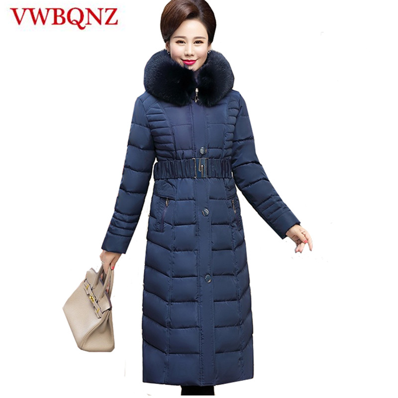 Autumn Winter Jacket Women Middle-aged Plus Size Thick Fur Collar Winter Coat   Parkas   Women X-Long Hooded Cotton Outerwear L-5XL