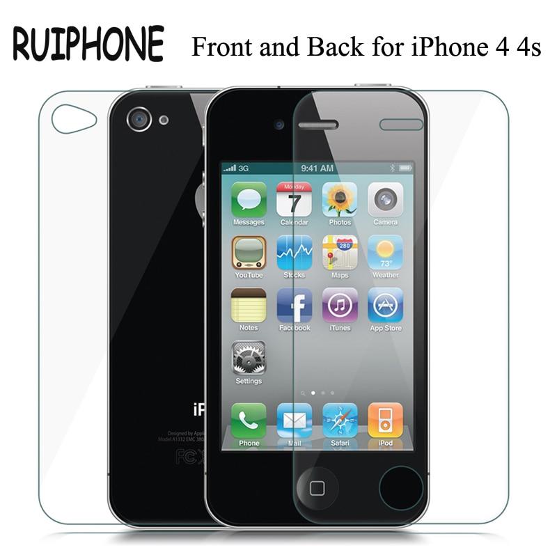 2 шт./лот Премиум Arc Edge мм 0,26 мм спереди и сзади закаленное стекло экран протектор для iPhone 4S 4 закаленное защитное стекло пленка