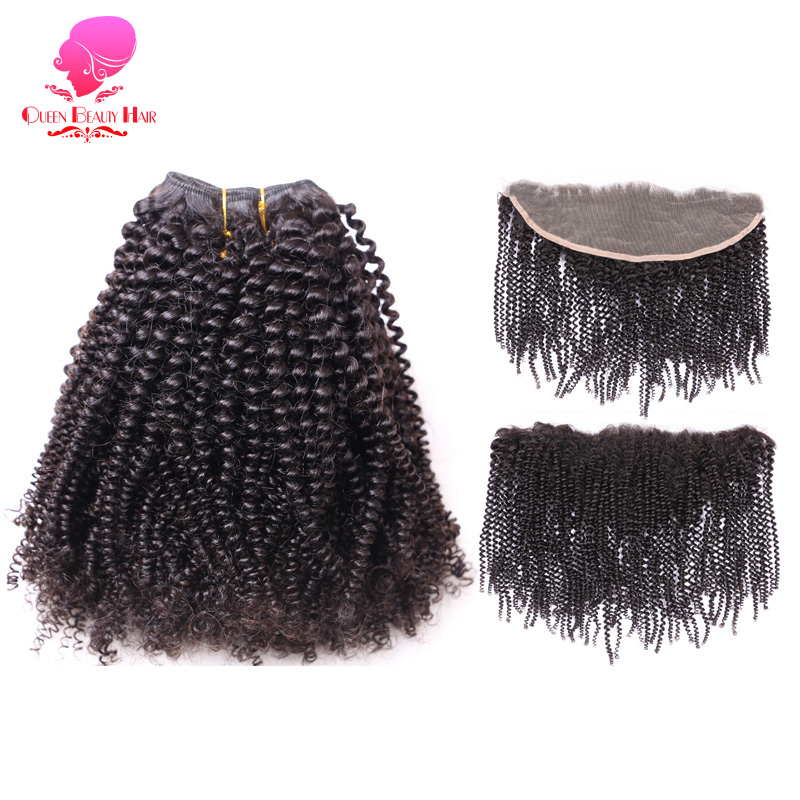 Brazilian Afro Kinky Curly Remy Human Hair Weave 2 3 4 Bundles with Frontal 13x4 Ear