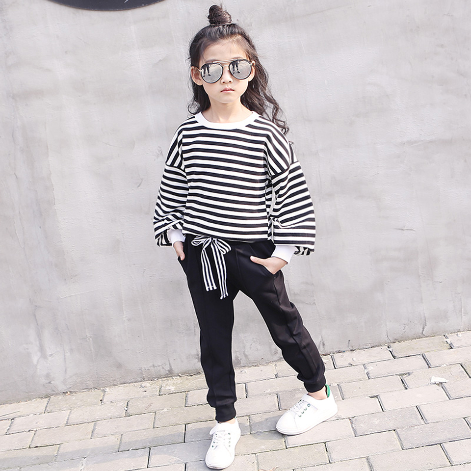 3-12 Y Fashion Autumn Baby Girls Clothes Sets Kids Stripe Clothing Sets Toddler Princess Outfit Costume Children Girls Clothing