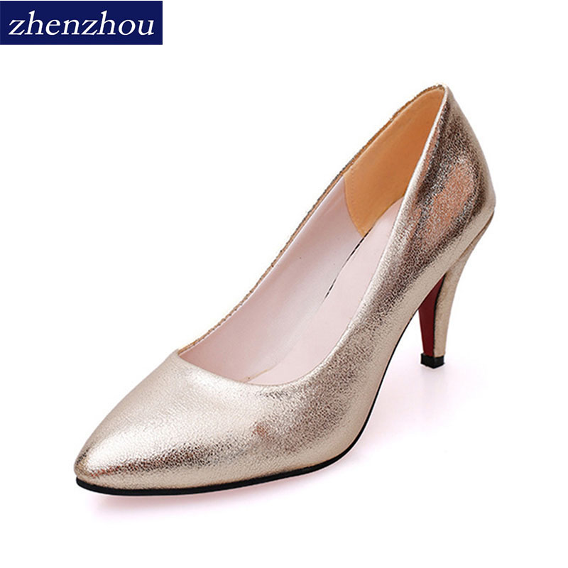 New 2017 spring and summer  new women's shoes han version of high heels gold wedding shoes fashion aesthetic hot style tide 2016 spring and summer free shipping red new fashion design shoes african women print rt 3