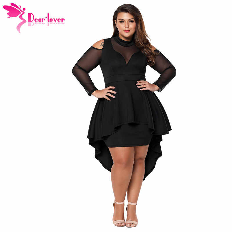 d3dbdfcb51 Dear Lover Long Sleeve Dress Autumn Big Ladies Party Robe Black Plus Size  Mesh Trim High