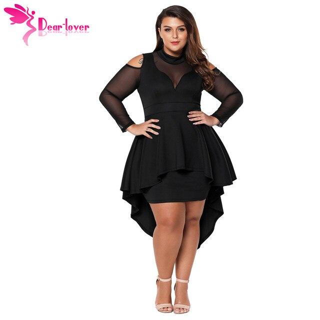 Dear Lover Long Sleeve Dress Autumn Big Ladies Party Robe Black Plus Size  Mesh Trim High-Low Peplum Bodycon Dress Vestido C61727 608ac642664b