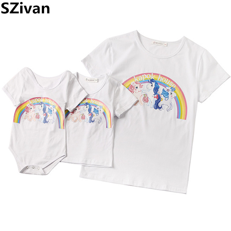 100% Cotton family matching clothes print T-shirt family clothing mother son outfits Baby romper