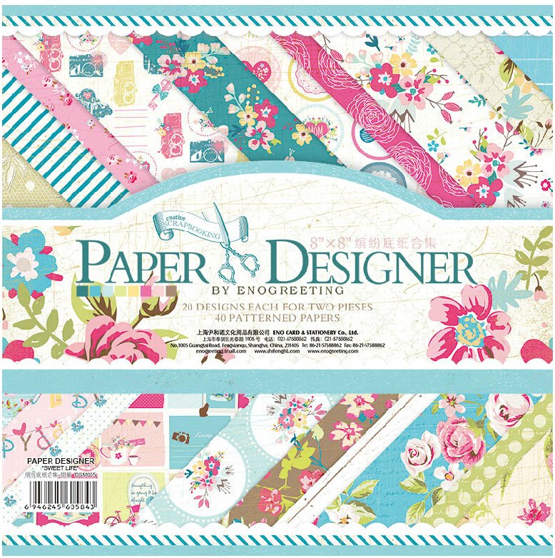 ENO Сәлемдесу 8inch Қағаз Дизайнер Гүл Flowers Scrapbooking Paper Pad DIY Vintage Floral Scrapbook Paper Pack