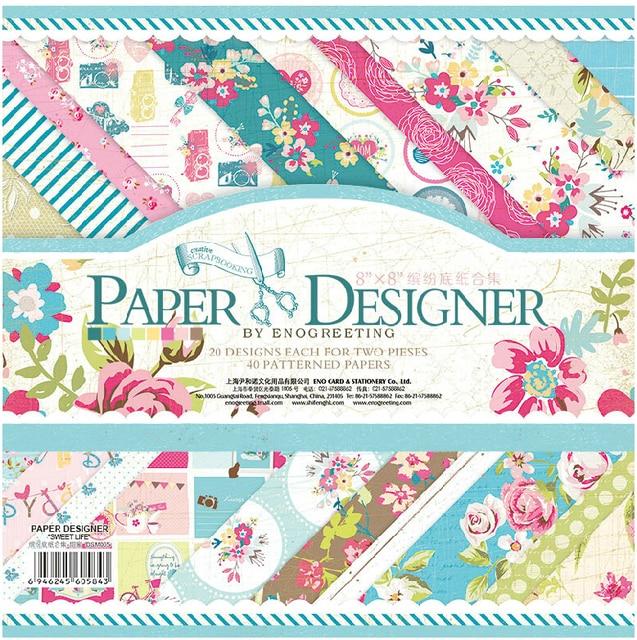 Eno Greeting 8inch Paper Designer Flowers Scrapbooking Paper Pad Diy
