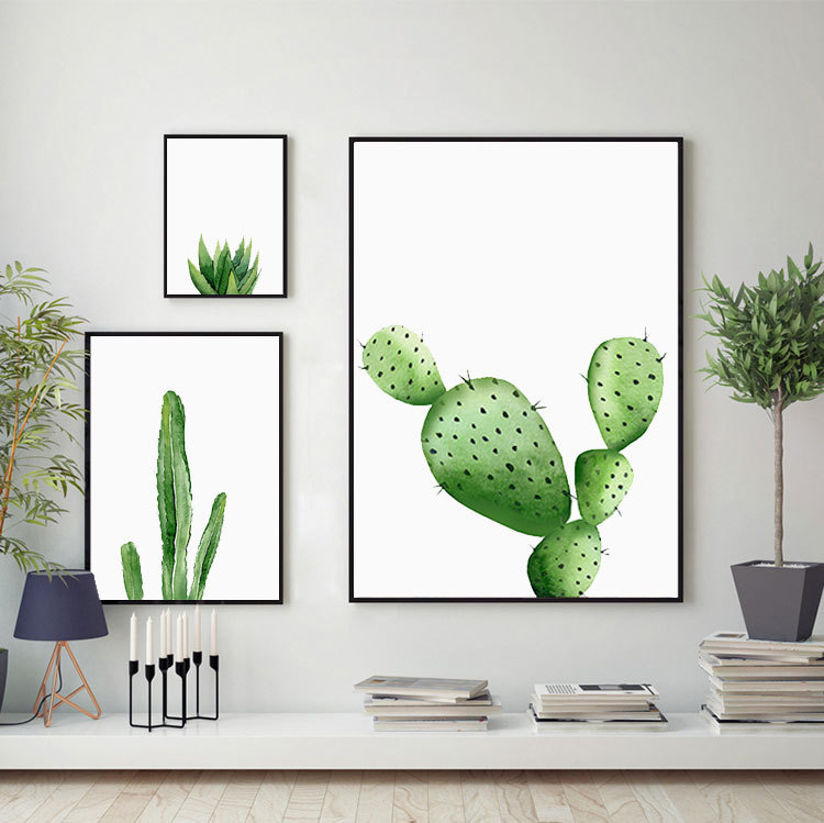 Tropical Plants Cactus Leaves Wall Art Canvas Posters And Prints Minimalist Painting Wall Pictures For Home Decor,drop Ship