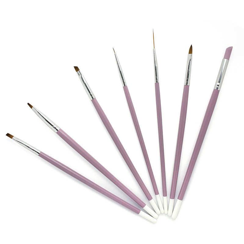 NIEUWE 7Pcs Nail Brush Set UV Gel Gradiënt Liner Acryl Schilderen Pen Cuticle Pusher Manicure Tool Kit