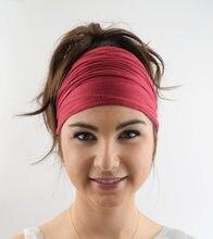 67232ead10e666 2019 neue Damen baumwolle Elastische Haarband Kopf Band Sport Yoga Stirnband  Wrap Neck Kopf Schal Cap