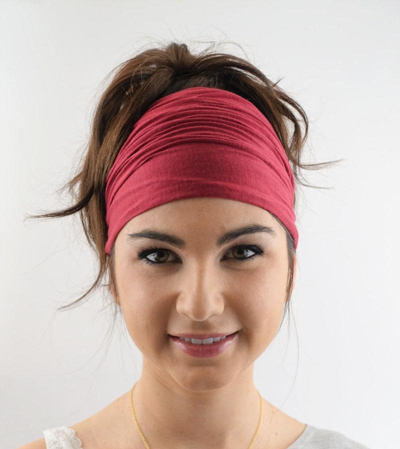 ✔  Дамы хлопок Эластичный головной ремень для волос Спорт Йога повязка на голову обернуть шею шарф шапк ①