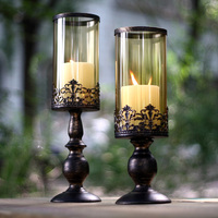 American Europe Classic Retro Wrought Iron Glass Candle Holders Romantic Candlelight Dinner Home Wedding Decor Gift