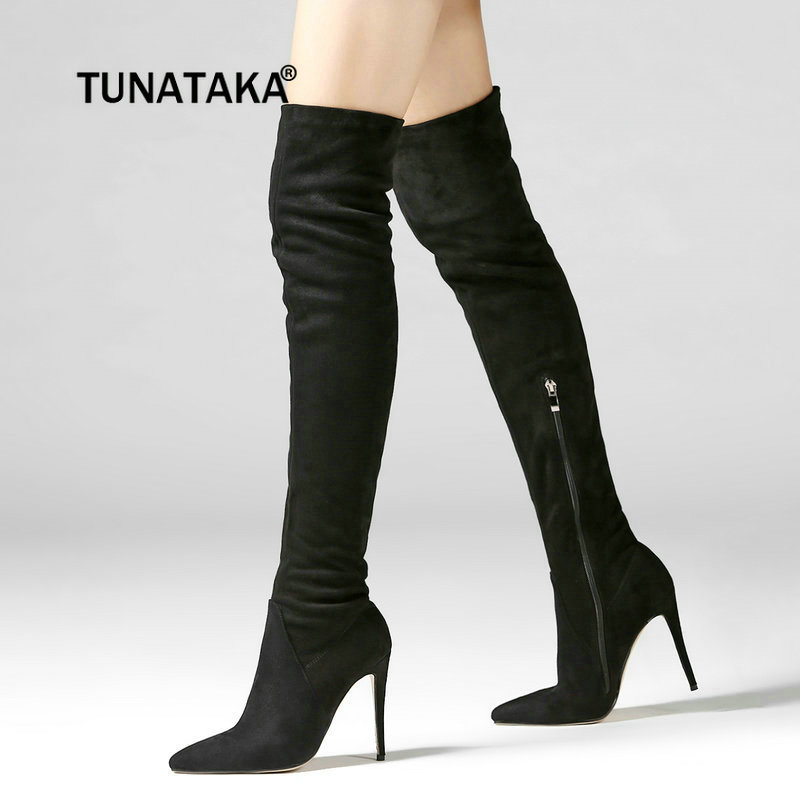 Women Flock Sexy Thin High Heel Over The Knee Boots Fashion Side Zipper Pointed Toe Thigh Boots Winter Woman Shoes jialuowei women sexy fashion shoes lace up knee high thin high heel platform thigh high boots pointed stiletto zip leather boots