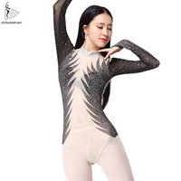 New Women Sexy Leotard Long Sleeves High Bodysuit Dance Wear Tops Belly Dance Costumes Bottoming Shirt Practice Clothes
