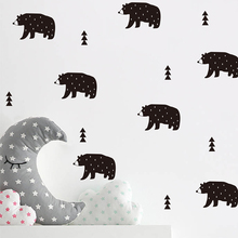 Pupil cartoon wall with polar bear Nordic forest wall decoration wall stickers children's room  A10-010 high quality colorful cartoon forest pattern removeable wall stickers