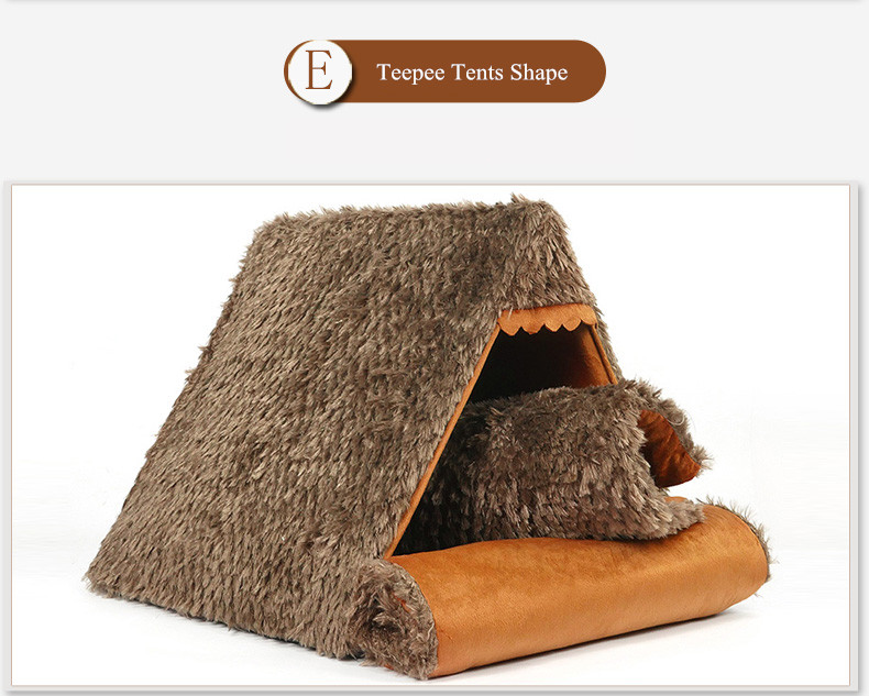 Autumn New Cat Small Dog Cave House Tepee Tents Short Plush Peacock Velvet Multinational Cat Bed Mats (14)