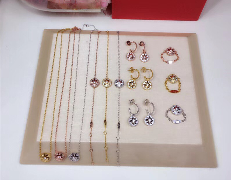 Luxury brand lucky star rose des vents jewelry set shell pink blue stone compass necklace pendant bracelet ring earrings set brand white shell crystal star chain ring 925 sterling silver pearl shell rose compass cuff ring women wedding vents jewelry