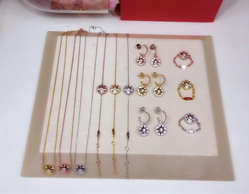Luxury brand lucky star rose des vents jewelry set shell pink blue stone compass necklace pendant bracelet ring earrings set mesh gemini lucky star sign bracelet