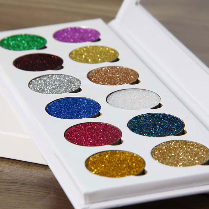 12 Colors Pressed Glitter Eyeshadow Palette Rainbow Diamond Eye Shdow Makeup Palette Shimmer Smokey Eyes Make Up Cosmetic Set