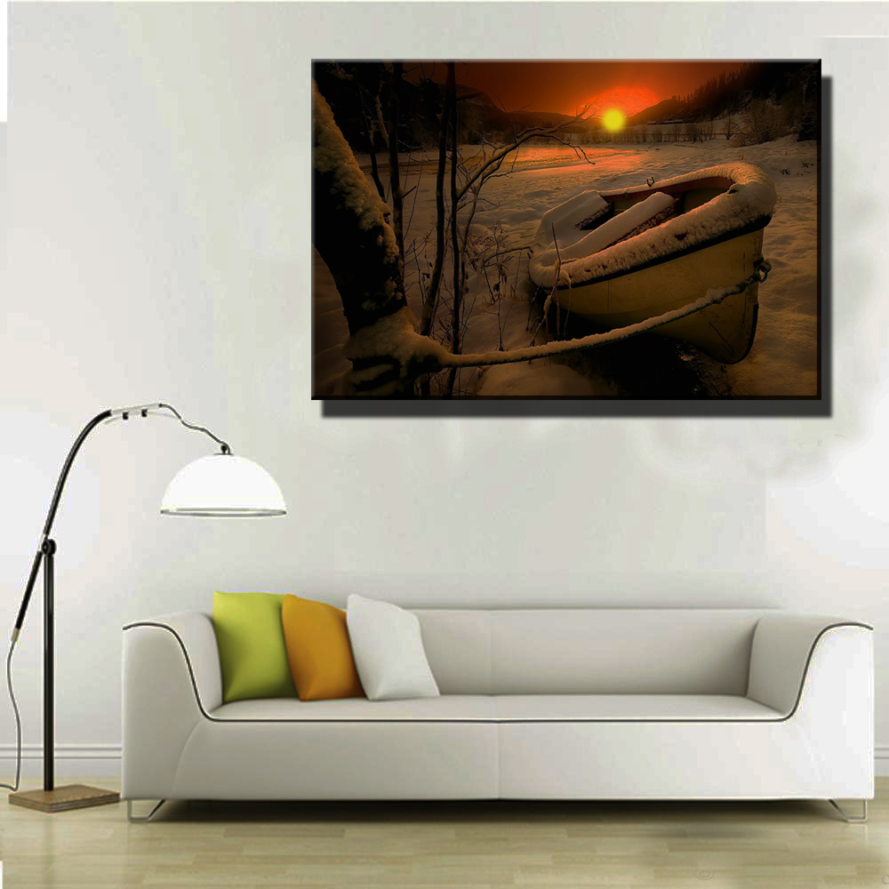 1pc led lights canvas wall art with led lighted up boat on freeze lake in winter sunset view. Black Bedroom Furniture Sets. Home Design Ideas