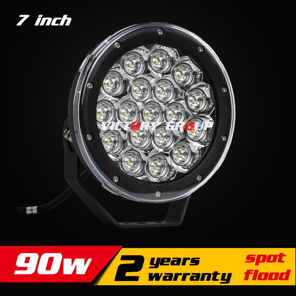7inch 90W LED Work Light Tractor Truck 12v 24v IP67 SPOT Flood Offroad LED Drive light LED Fog Light seckill 55w 75w