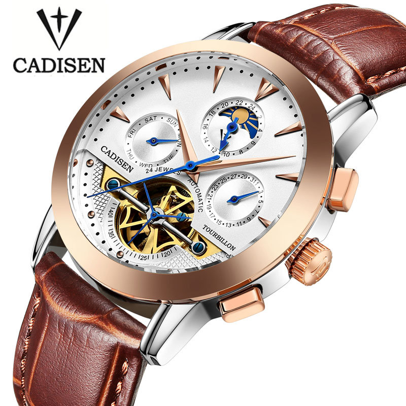 Mens Watches Moon Phase Automatic Watch Men Dive 30m Sport Leather Business Clock Top Brand Luxury Cadisen Relogio Masculino men s watches automatic mechanical watch moon phase clock steel strap business watch top brand wristwatches relogio masculino