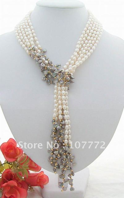"""3 strands 49"""" White&Grey Keshi Pearl Necklace"""