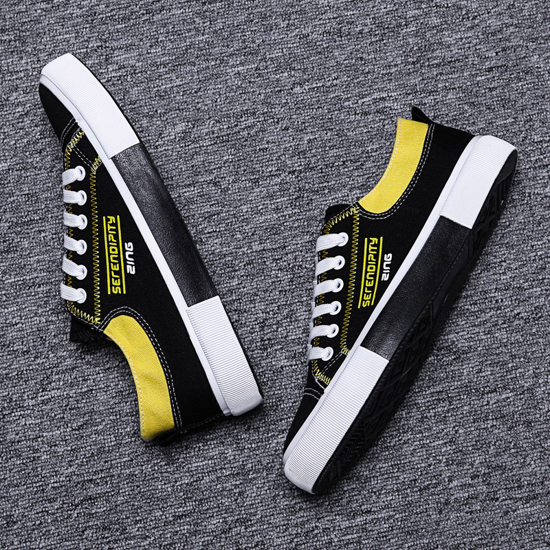 Mens Shoes Casual Canvas Black Yellow Man 2018 Breathable Loafers Men Platform Sneakers
