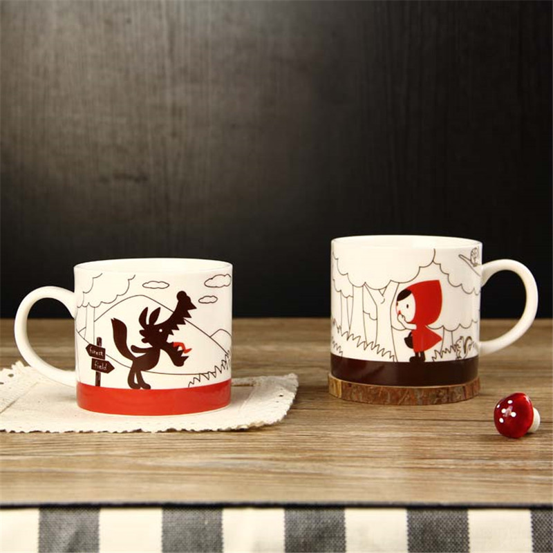 <font><b>2</b></font> In <font><b>1</b></font> Couples Coffee Cups Cartoon Little Red Riding Hood Cute Lovers Gift Ceramic Moring Mug Cup Breakfast 2pcs Mugs Drinkware image