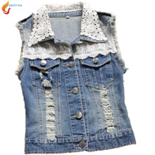 JQNZHNL 2017 hot style Cowboy Gilet Women Spring Summer Fashion New Cowboy Vest Lace Stitching Sleeveless Cowboy Vest Jacket G12