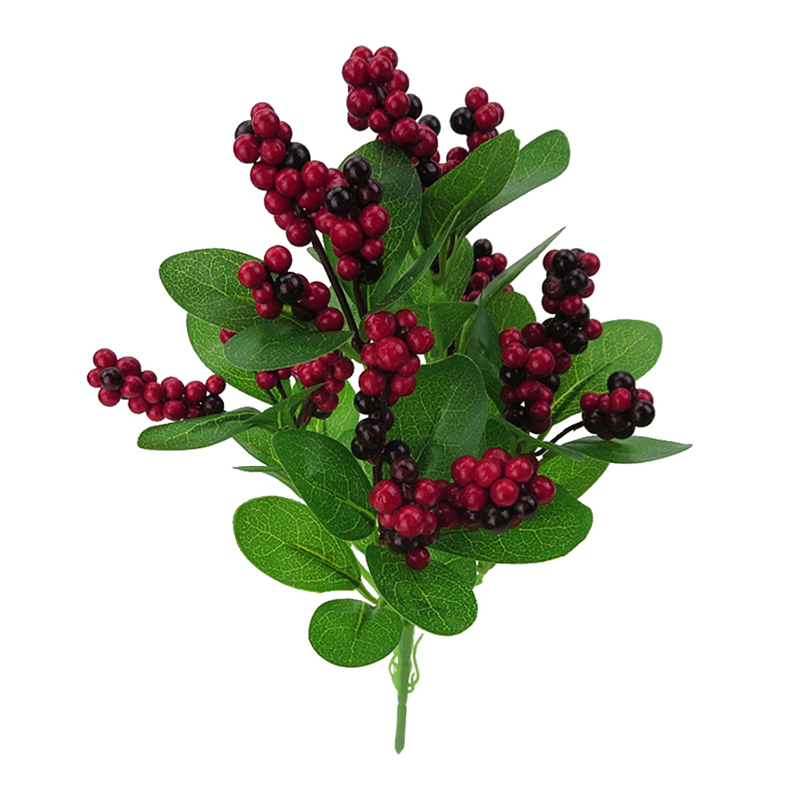 Artificial Berry Branch Silk Flower Berries Fake Fruit Home Decoration Single Happy