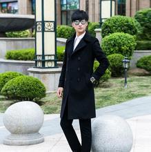 Men's clothing plus size long design slim woolen coat men double-breasted wool coat mens overcoat outerwear black 2017autumn