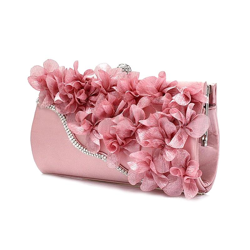 HEBA Chic Lady Satin Clutch Bag Flower Evening Party Wedding Purse Chain Shoulder Handbag luxury crystal clutch handbag women evening bag wedding party purses banquet