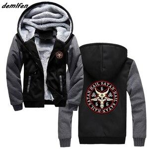 Image 1 - Hail Satan 666 Baphomet Pentagram Devil Wicca Black Magic Print Hoodie Men Thick Zipper Sweatshirt Hip Hop Jacket Tops