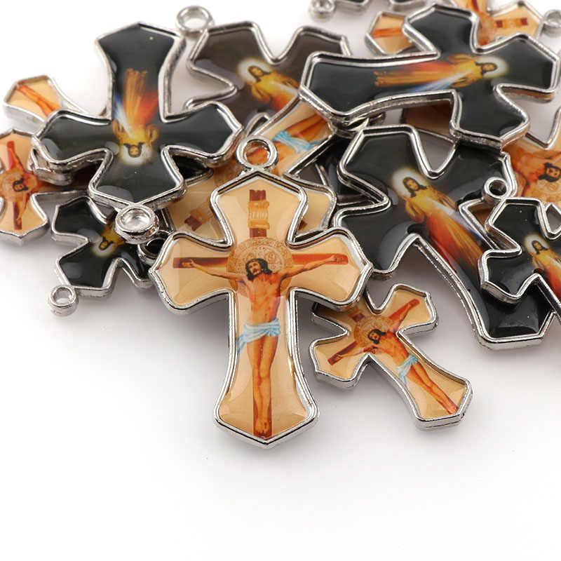 Podwójna emalia boże miłosierdzie miłość jezus religia motywacyjne wisiorki krucyfiks i czarna lina drut wisiorki krzyżowe naszyjnik 45cm