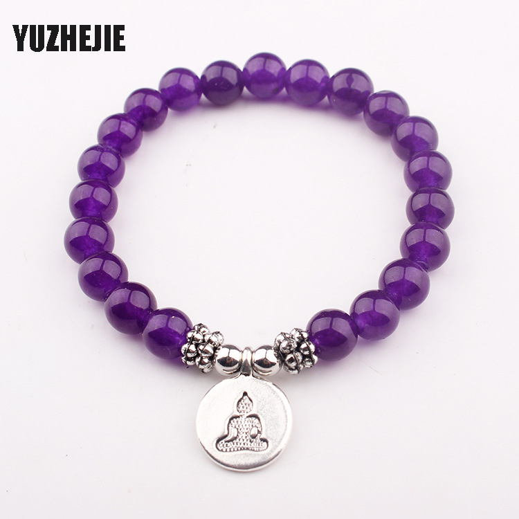 YUZHEJIE Trendy Natural Stone Bracelet Yogi Women Gift Bracelet Fashion Healing Crystals Addictions Insomnia Jewelry ...