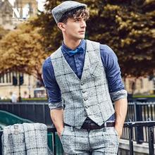 Brand Men Clothing 2016Autumn Winter Colors Plaid patchwork men slim fit suit vest waistcoat mens classic formal wedding gilet