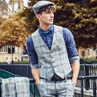 Brand Men Clothing 2016Autumn Winter Colors Plaid Patchwork Men Slim Fit Suit Vest Waistcoat Mens Classic