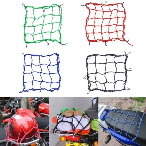 30*30cm Motorcycle Storage Luggage Helmet Net Mesh For Storage Carrier Bag Cargo Net  Helmet Sundries Fix Mesh With 6 Metal Hook