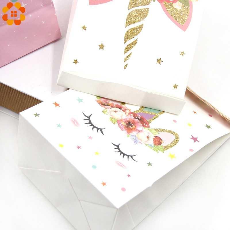 6PCS White Pink Unicorn Paper Bag DIY Birthday Party Decorations Kids Gift