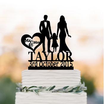 Rodzina zabawny tort weselny z dziewczyną niestandardowy tort weselny wykaszarki akrylowe srebrne topper tort weselny z dzieckiem silhouett tanie i dobre opinie Panna młoda i Pan Młody Numer List X035 Ślub i Zaręczyny Occasion Wedding Color golg Silver wooden Black