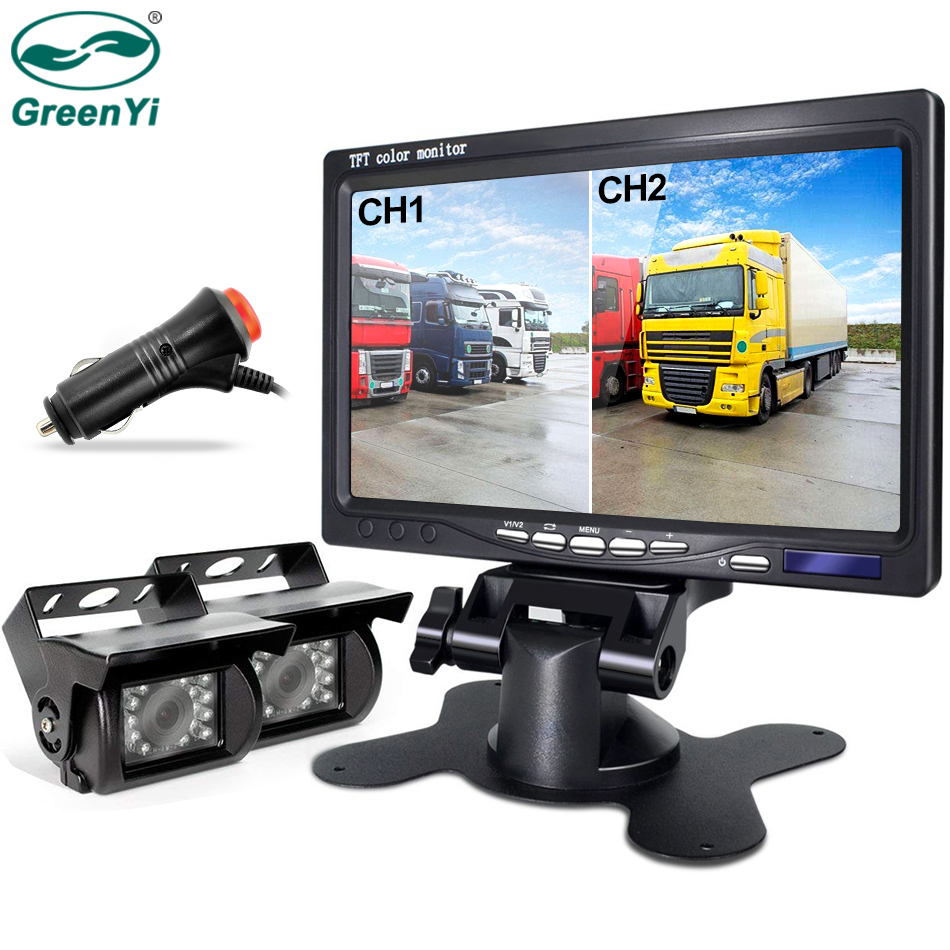 GreenYi HD Car Wired Waterproof Rear View Reversing Camera 7 inch Double Screen Monitor Fit For