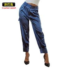 女性サテンパンツパンツカジュアル巾着ルース作物パンツズボンスウェットパンツ