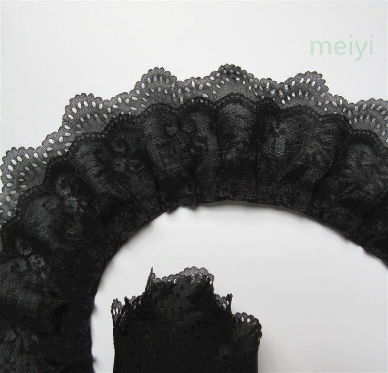 5 Yrds 2cm Pleated Organza Lace Edge Trim Gathered Mesh Ribbon Sewing DIY White