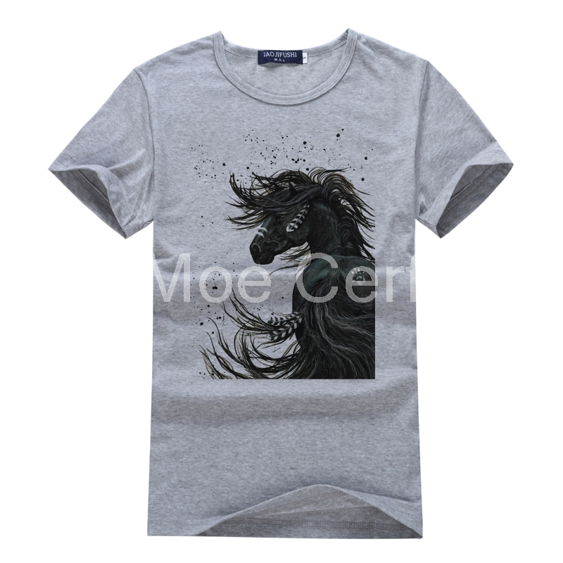 3D Cotton Man Tops T-shirt Crazy Horse Summer Short Sleeved Casual Gray T Shirt Bodybuilding Male Clothes Cool Youth Tees L3-46