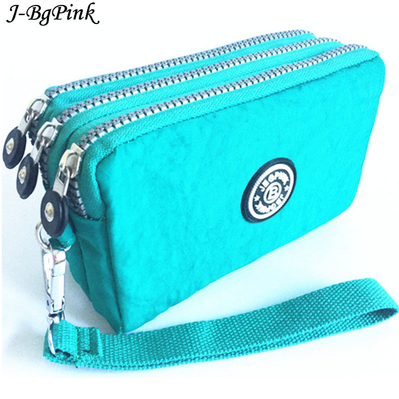 все цены на  2017 new J-Bg pink brand fashion original lady double zipper purse handbag clutch wallet nylon waterproof bag Hasp free shipping  онлайн
