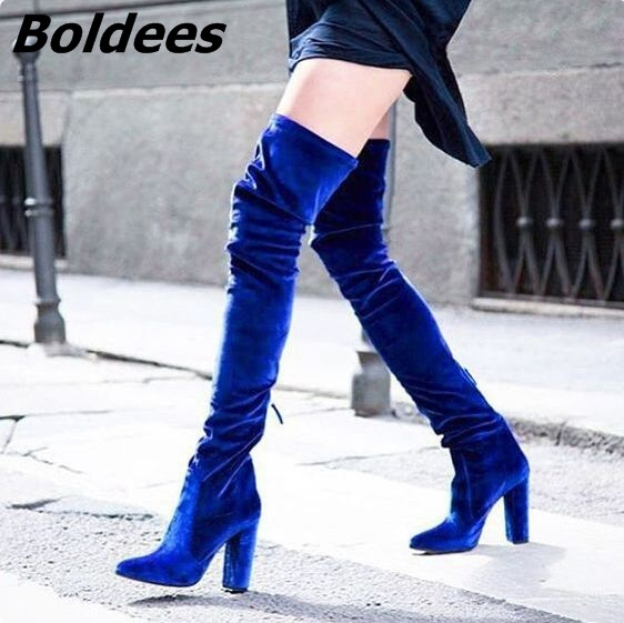 Fancy Women Soft Velvet Block Heels Thigh High Boots Sexy Fashion High Heel Over The Knee Boots Dress Shoes Celebrities in same